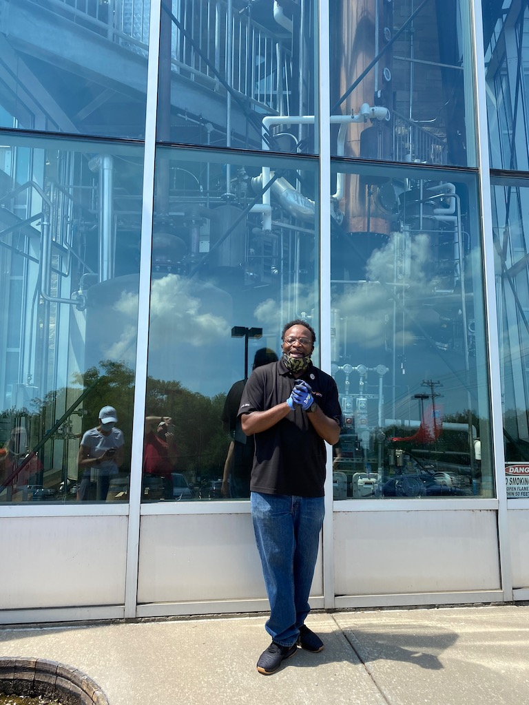 Grover, our tour guide, in front of the column still - New Riff Distilling