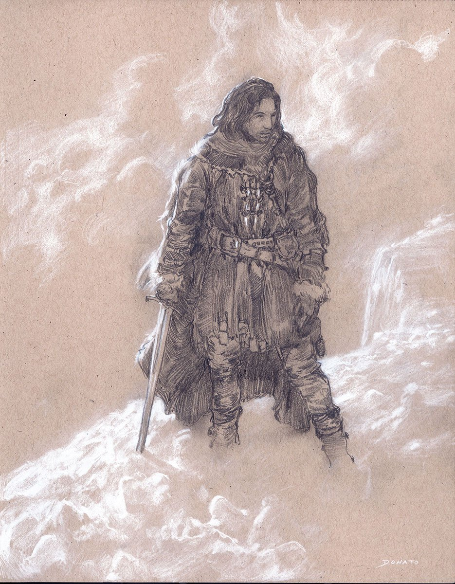 "The Wall - Jon Snow 14"" x 11""  Watercolor and chalk on toned paper private collection"