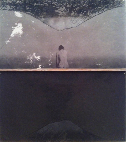 MUJER CON VOLCÁN/ VOLCÁN INVERTIDO Collage, madera, acrílico, grabado en madera sobre pellón 40 x 36 pulgadas