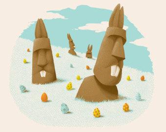 """Easter Island Silkscreen 10"""" X 8"""" $30."""