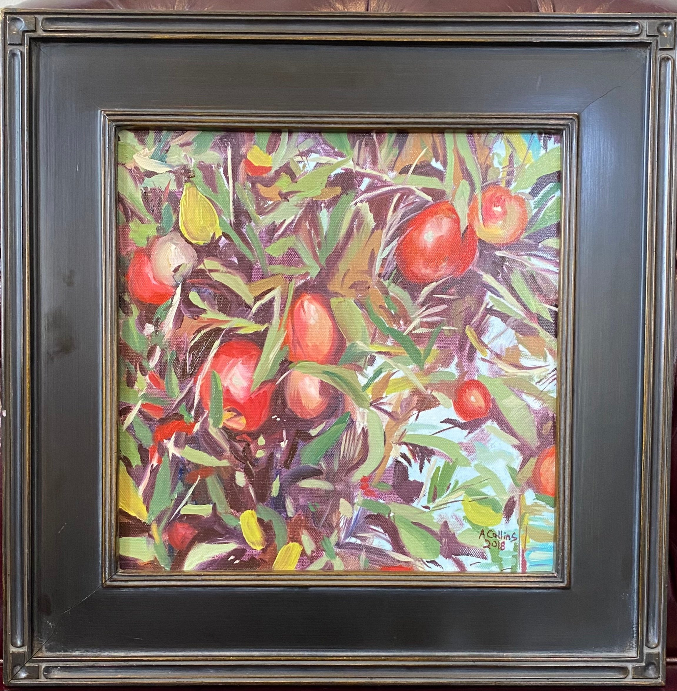 """Apples Abstraction Oil 12"""" X 12"""" $295 ."""