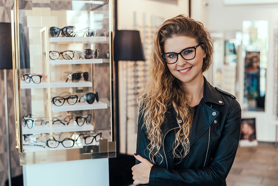 Smiling Woman In Optical Store