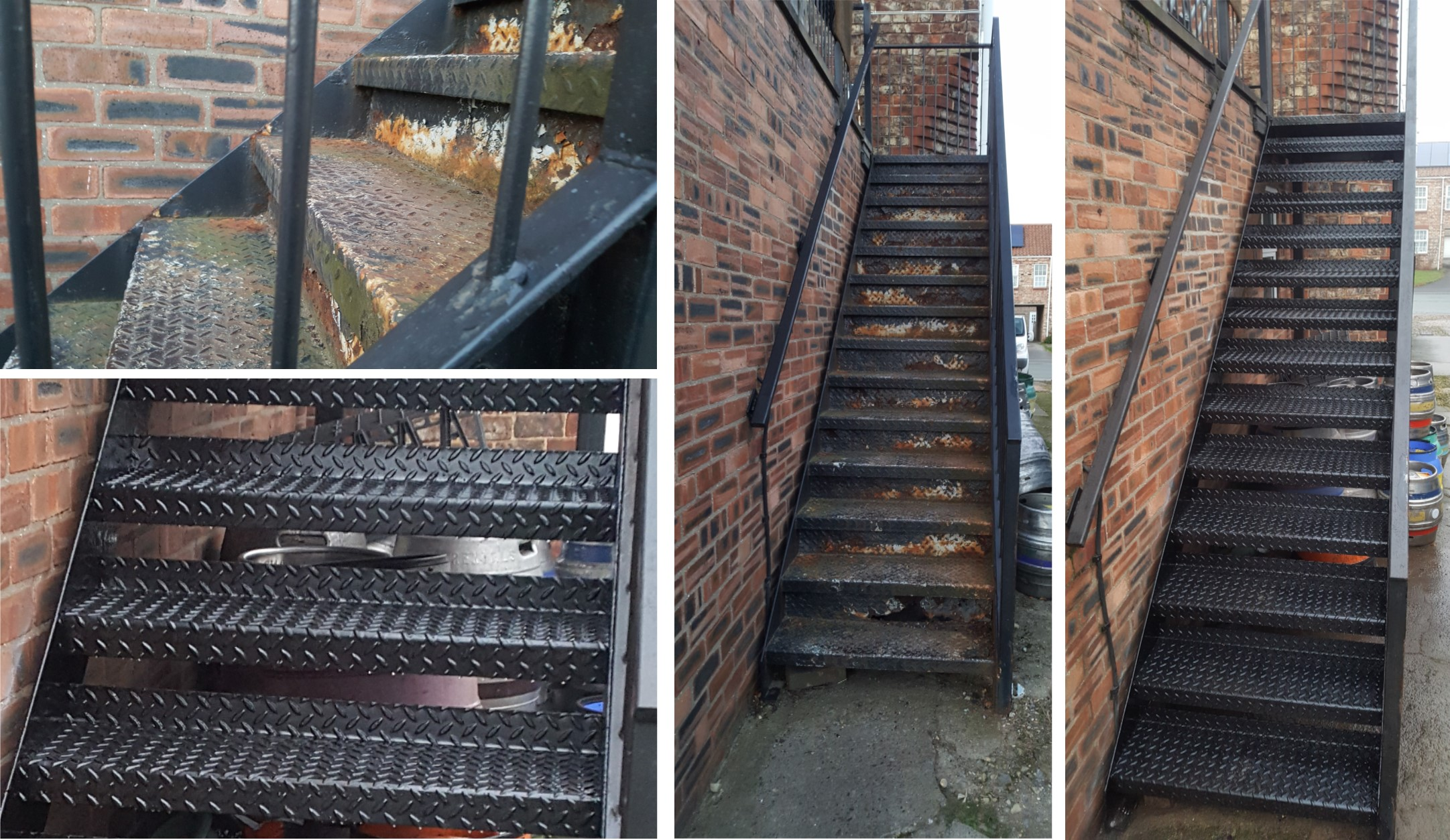 External staircase refurbished with new stair treads.