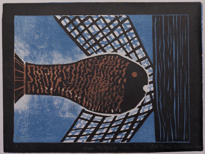 La pesca, 2003 Grabado en madera sobre papel  34 x 30 cm