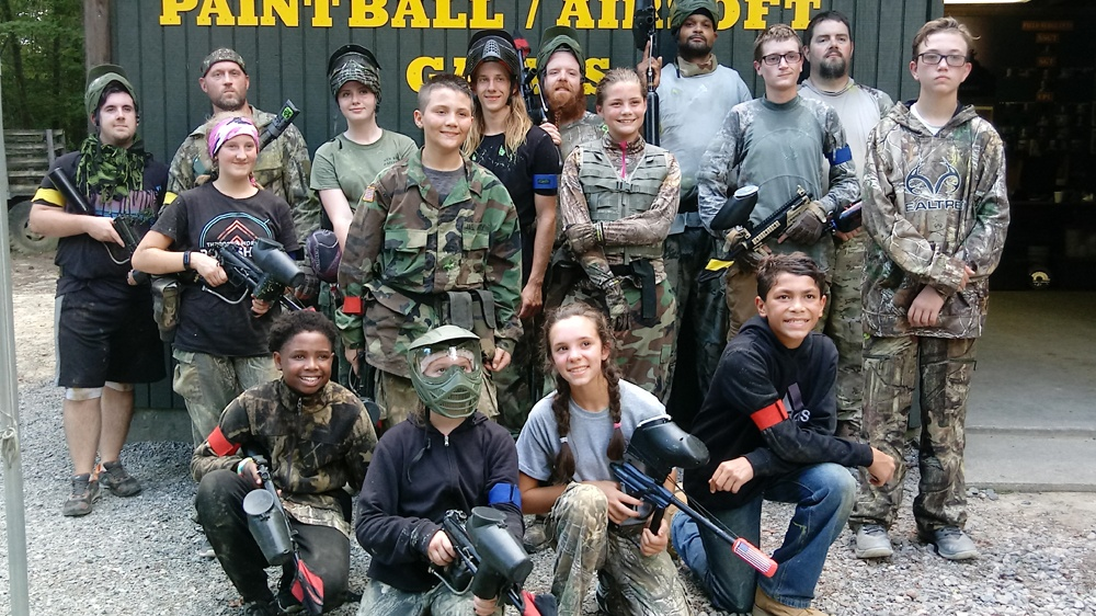 Group photo of Paintball players who had a blast