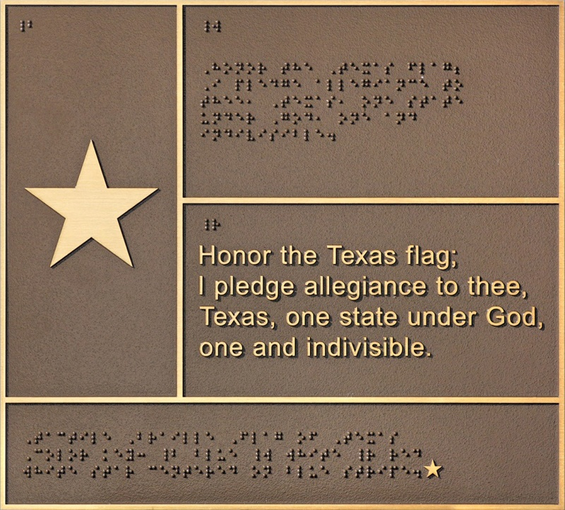 Flash Bronze Braille Flag of Texas