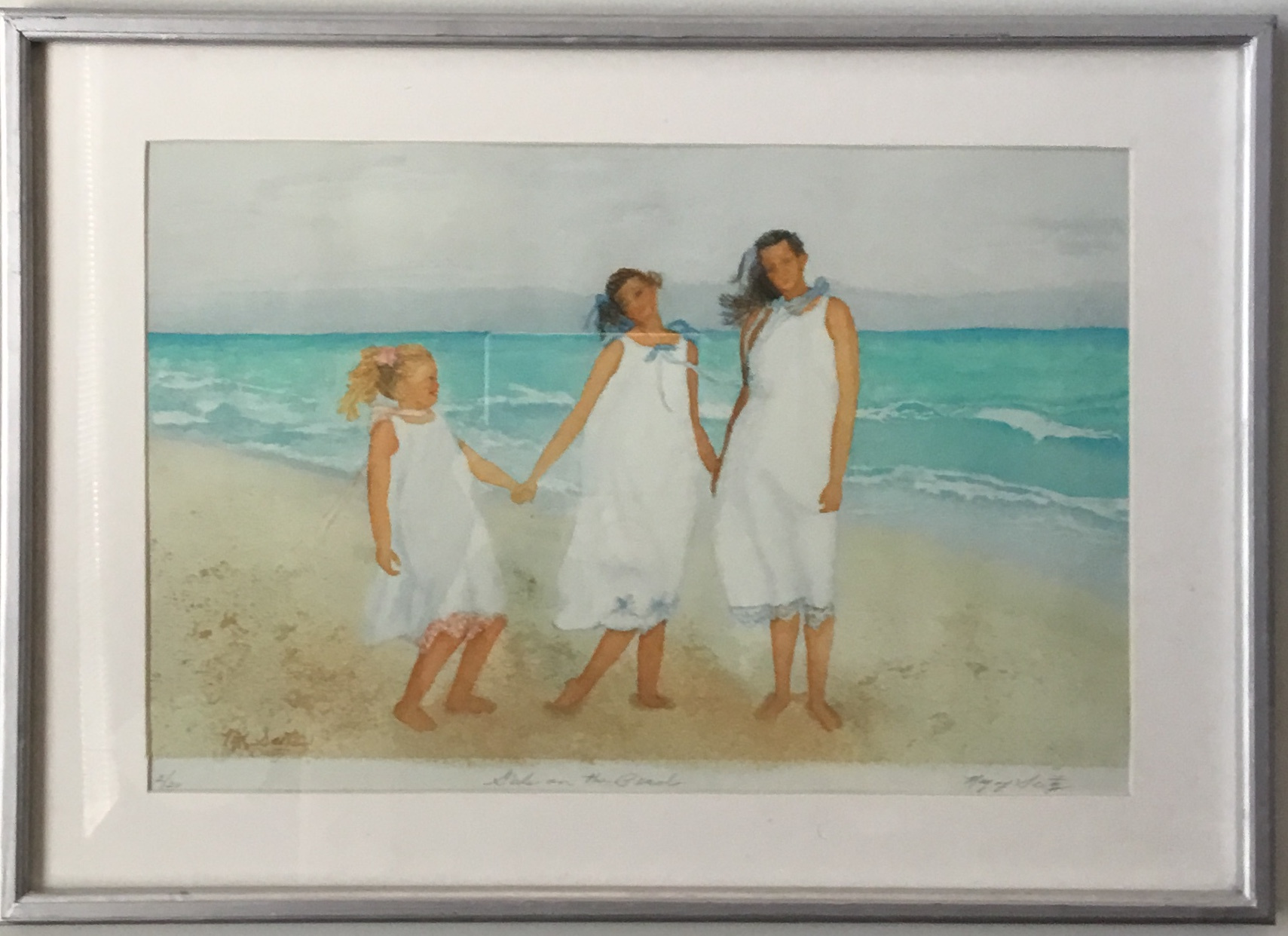 "Girls on the Beach Giclée 26"" x 19"" $150."