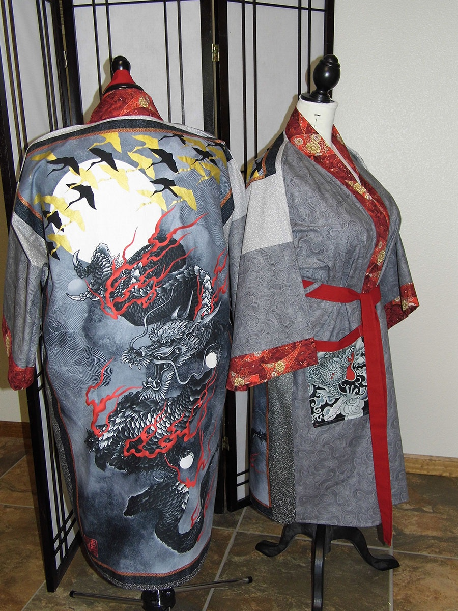 Black and Gray Dragons Kimono