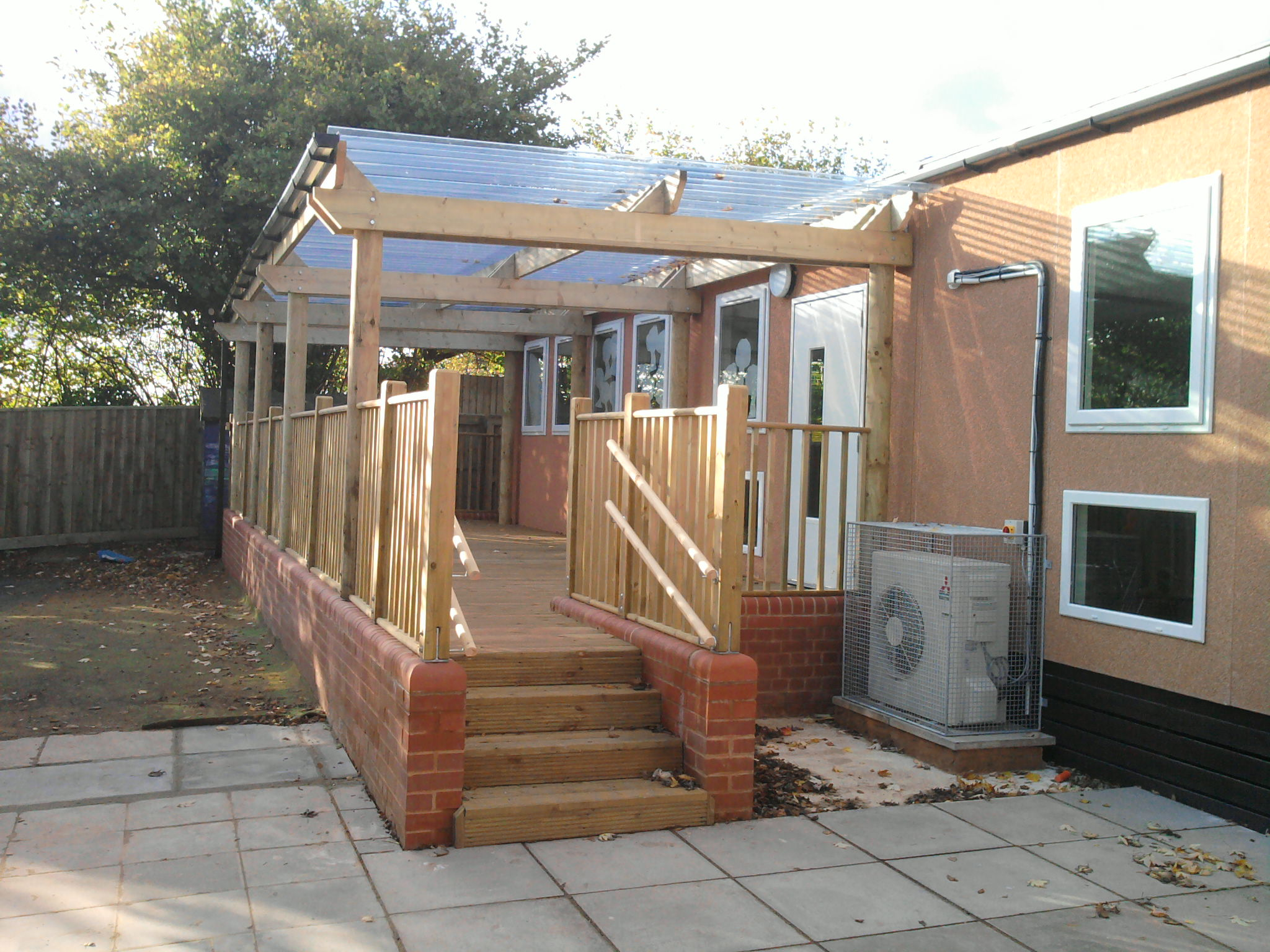 Flat Roof Canopy to Mobile Classroom