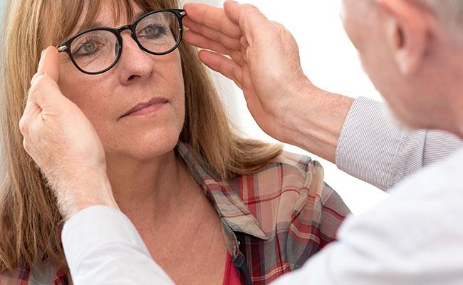 Mature Woman Testing New Eyeglasses