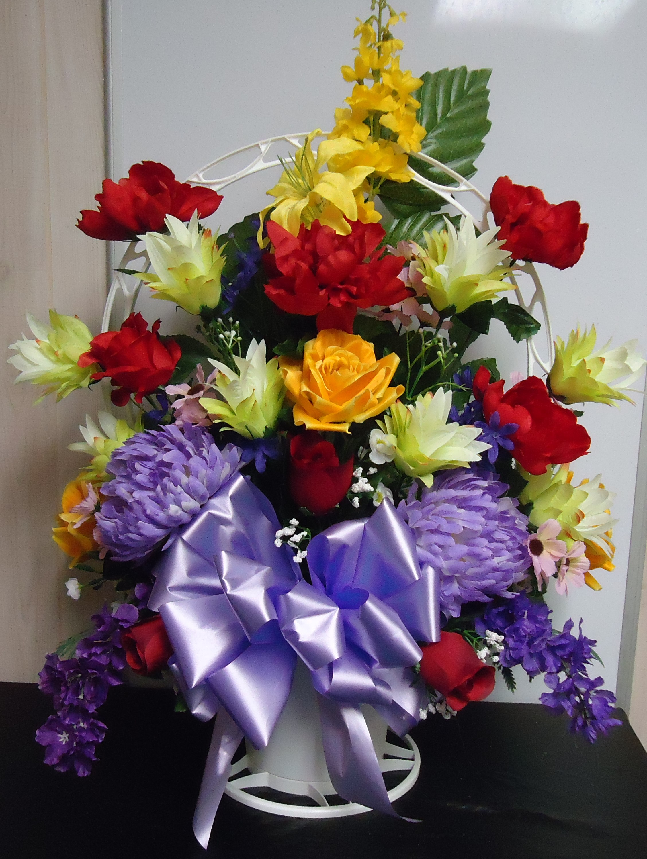 "(29)  ""SILK"" Cemetery Basket Red, Yellow & Lavender Mix $60.00"