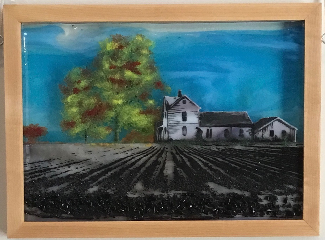 "A Plowed Field Enamel on Fused Glass 14"" x 10.5""  $180. SOLD"