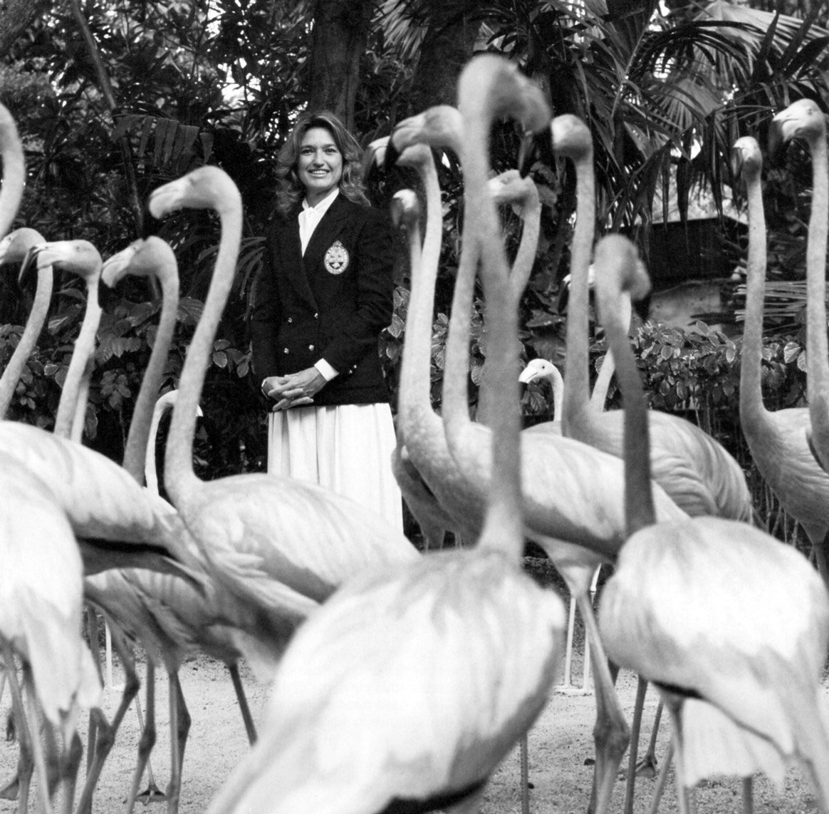 Lynn Holowesko - President of the Bahamas National Trust. She oversees the well-being of the National Bird of the Bahamas, the flamingo - Nassau