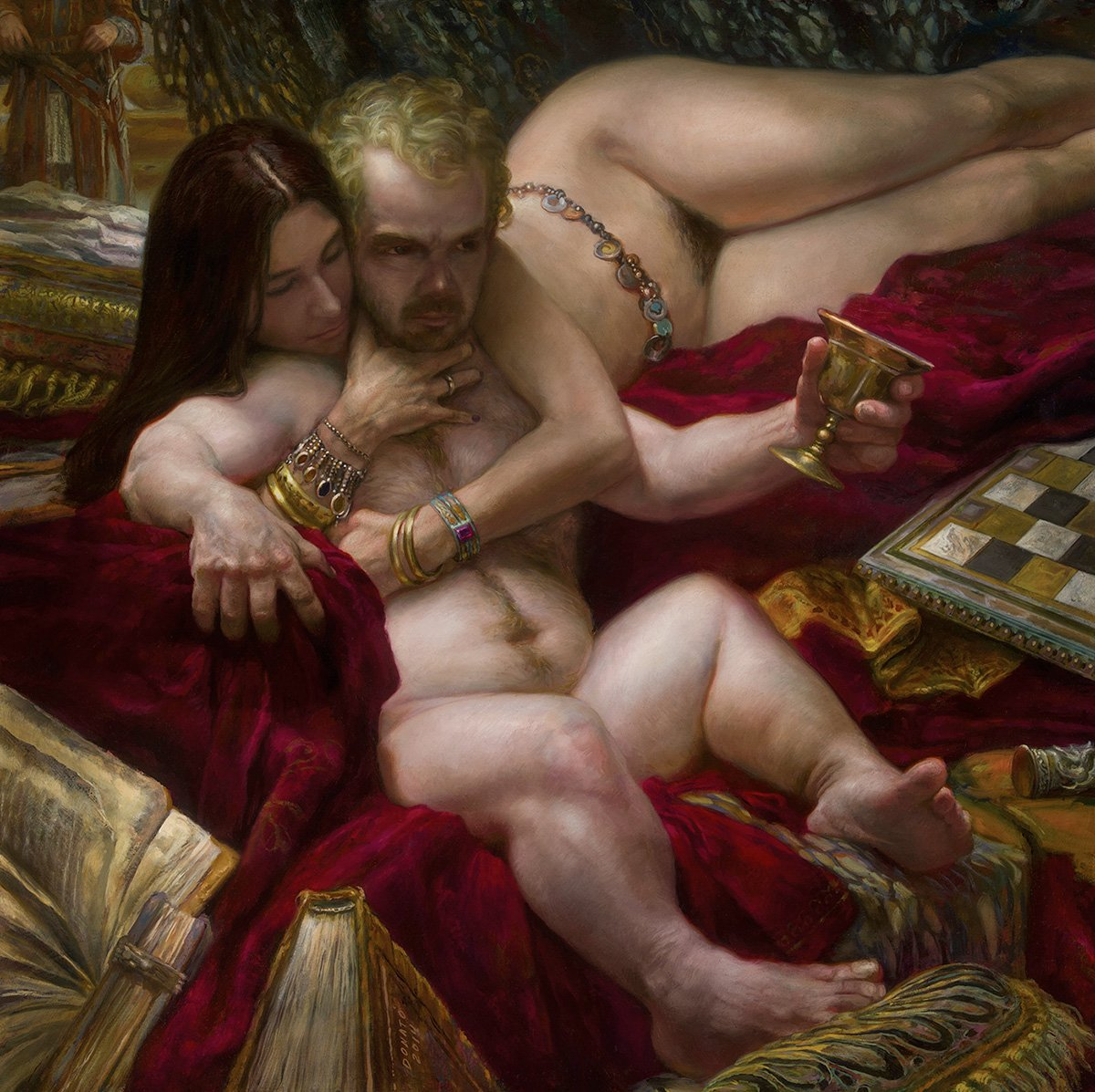 "The Hand - Tyrion Lannister and Shae 30"" x 30""  oil on Panel  2014 Collection of the artist"