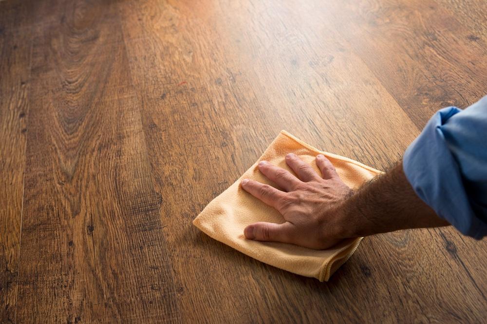 Wiping Dark Hardwood Floor