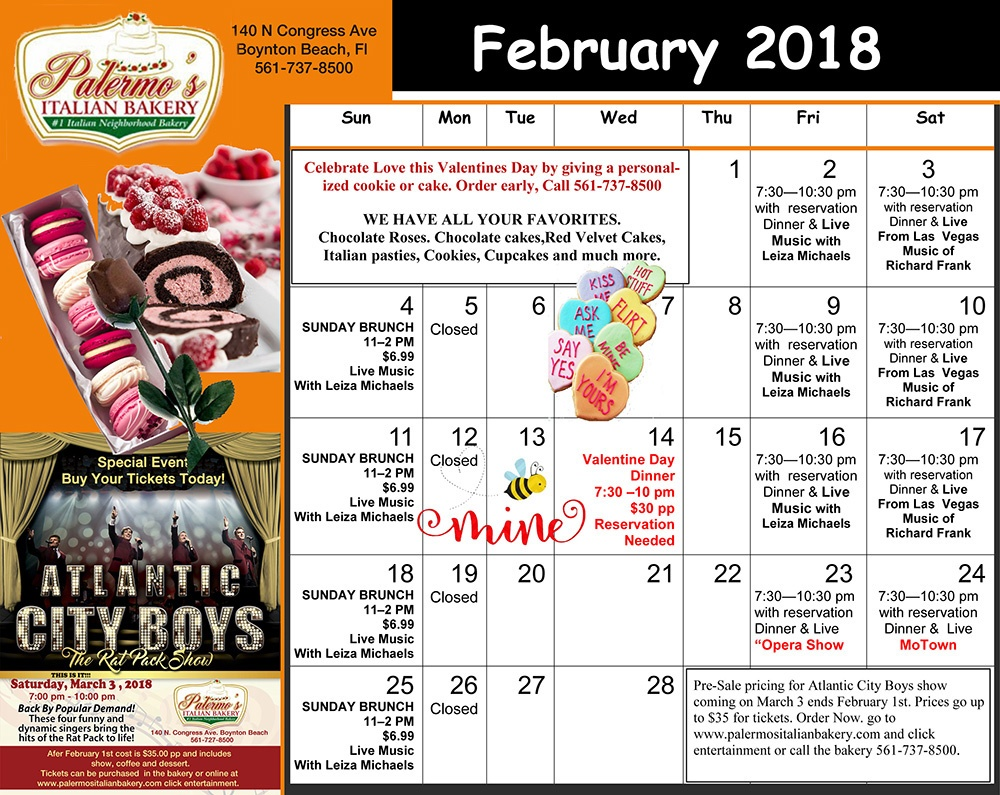 February Performance Schedule