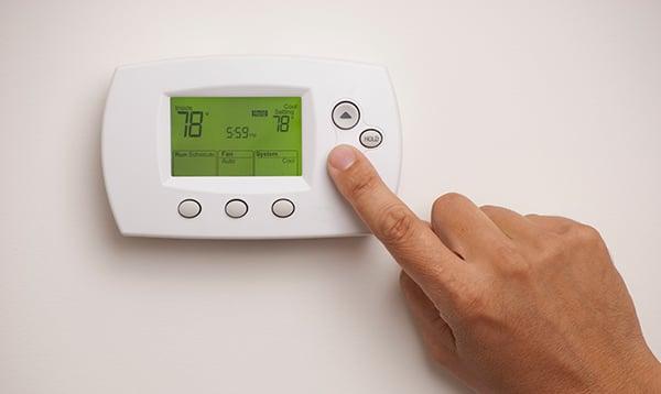 Digital thermostat set at 78 degrees