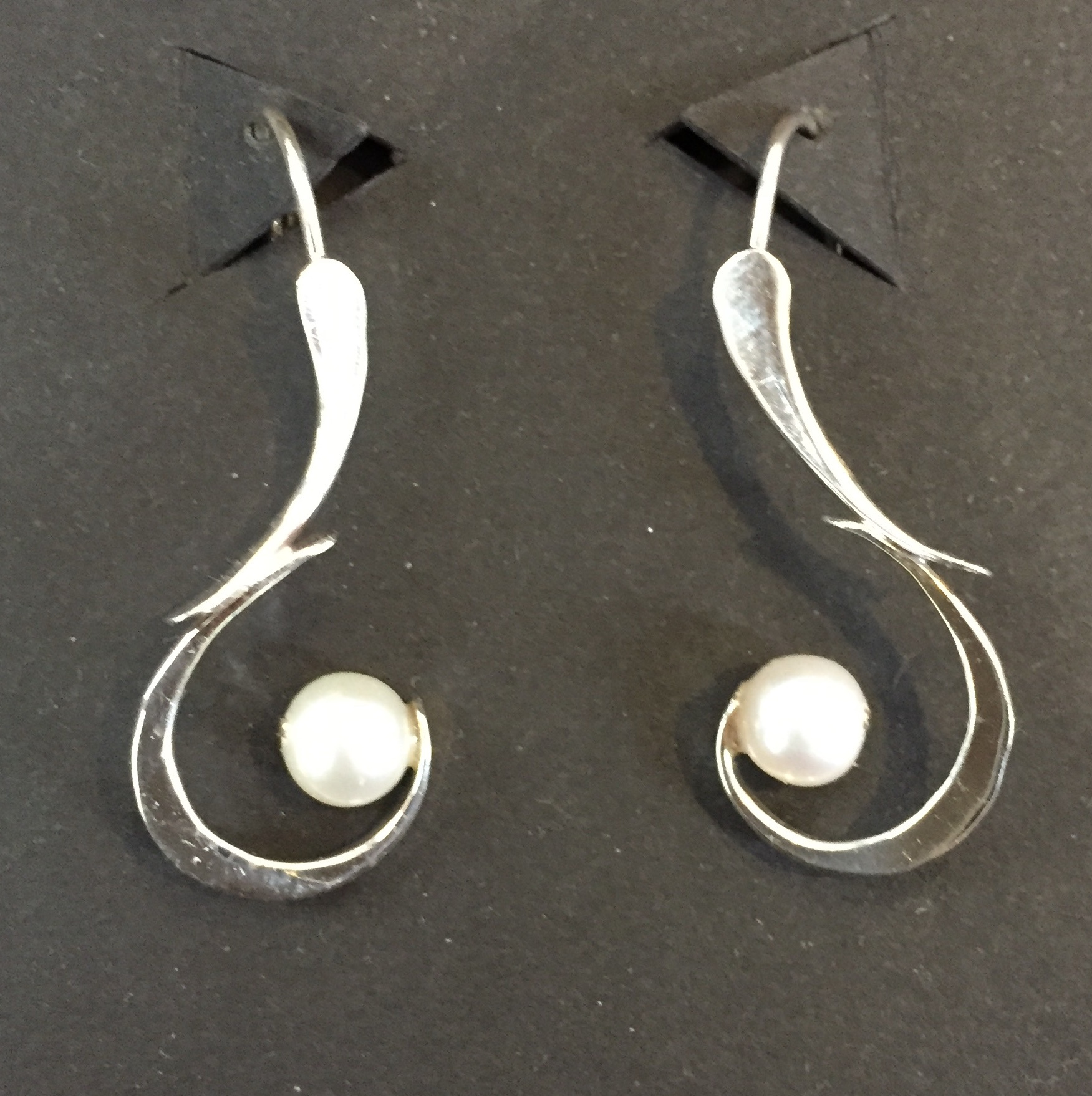 White Pearl Earrings sterling and pearls $68.