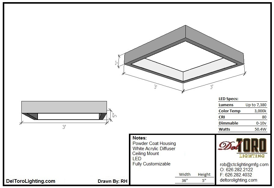 110C-Square Blade Ceiling Mount