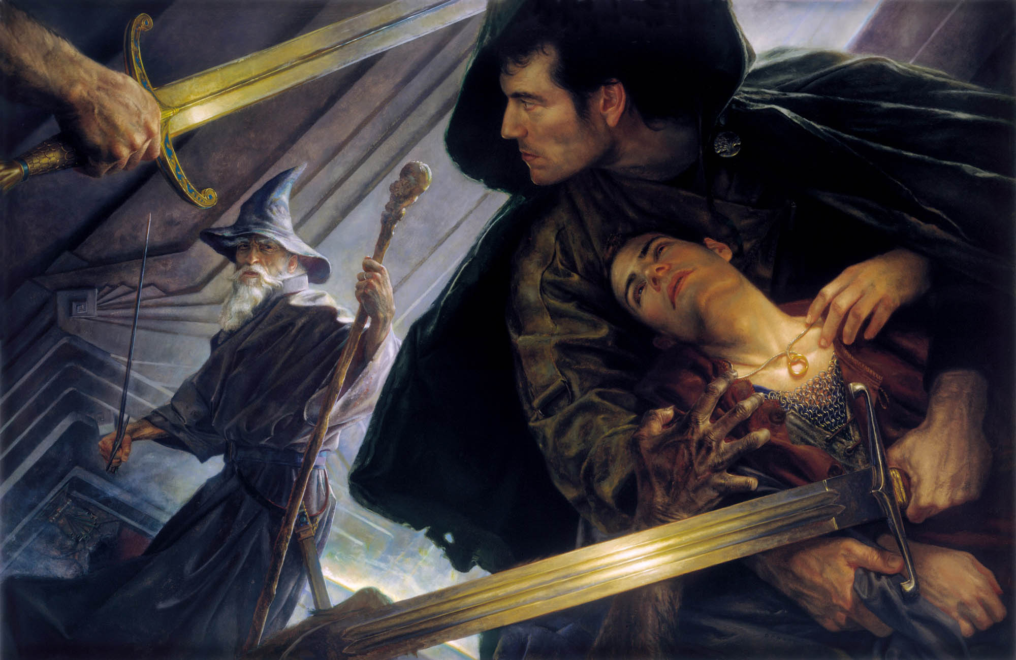 "THE LORD OF THE RINGS cover art for the Science Fiction Book Club edition of the novels by J.R.R. Tolkien 55"" x 33"" Oil on Panel 1999  collection of Chris Huntley"
