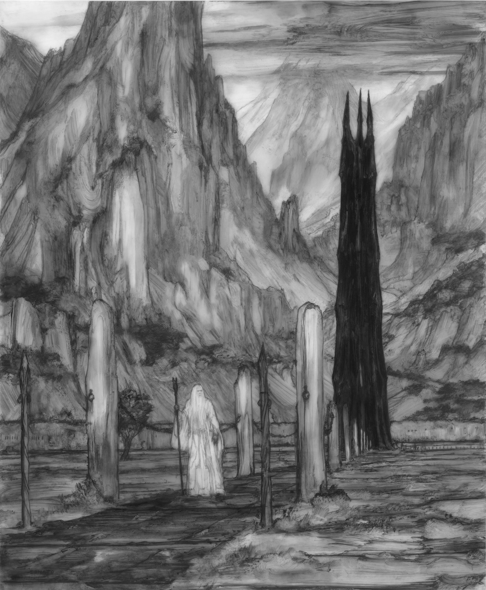 "Saruman at Isengard 17"" x 14"" graphite pencil and paint 2019 available for purchase"