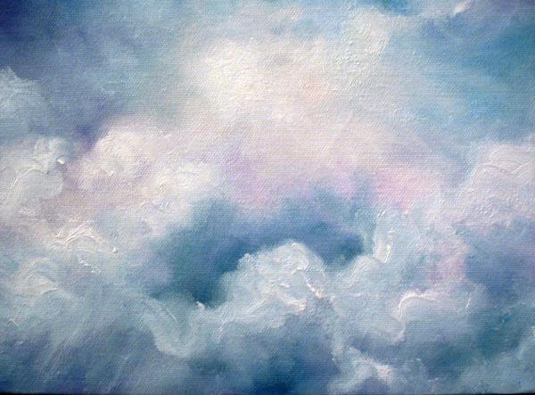 """Clouds - 8""""x10"""" Oil on Stretched Canvas"""