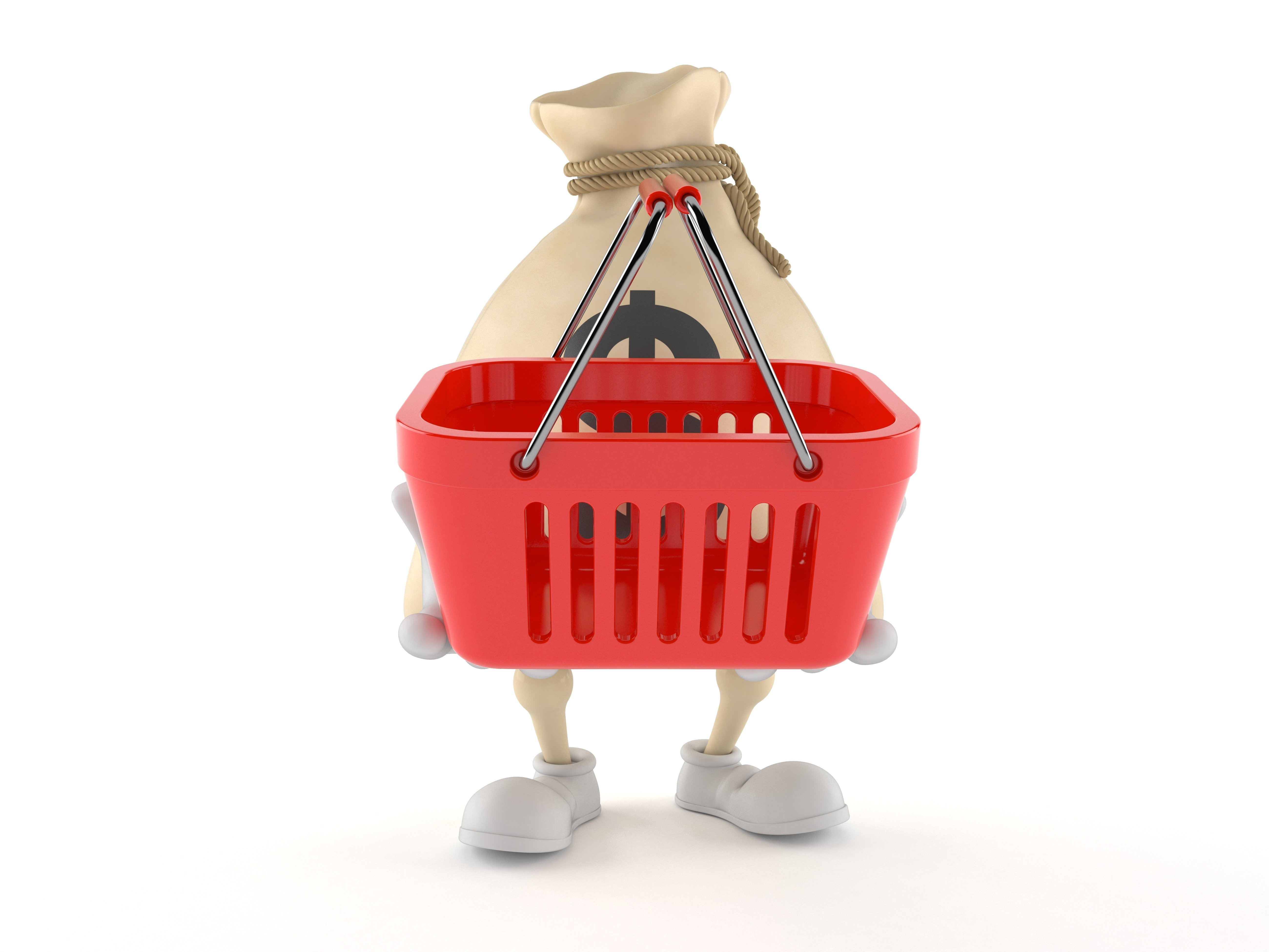 Dollar Money Bag Character Holding Empty Shopping Basket