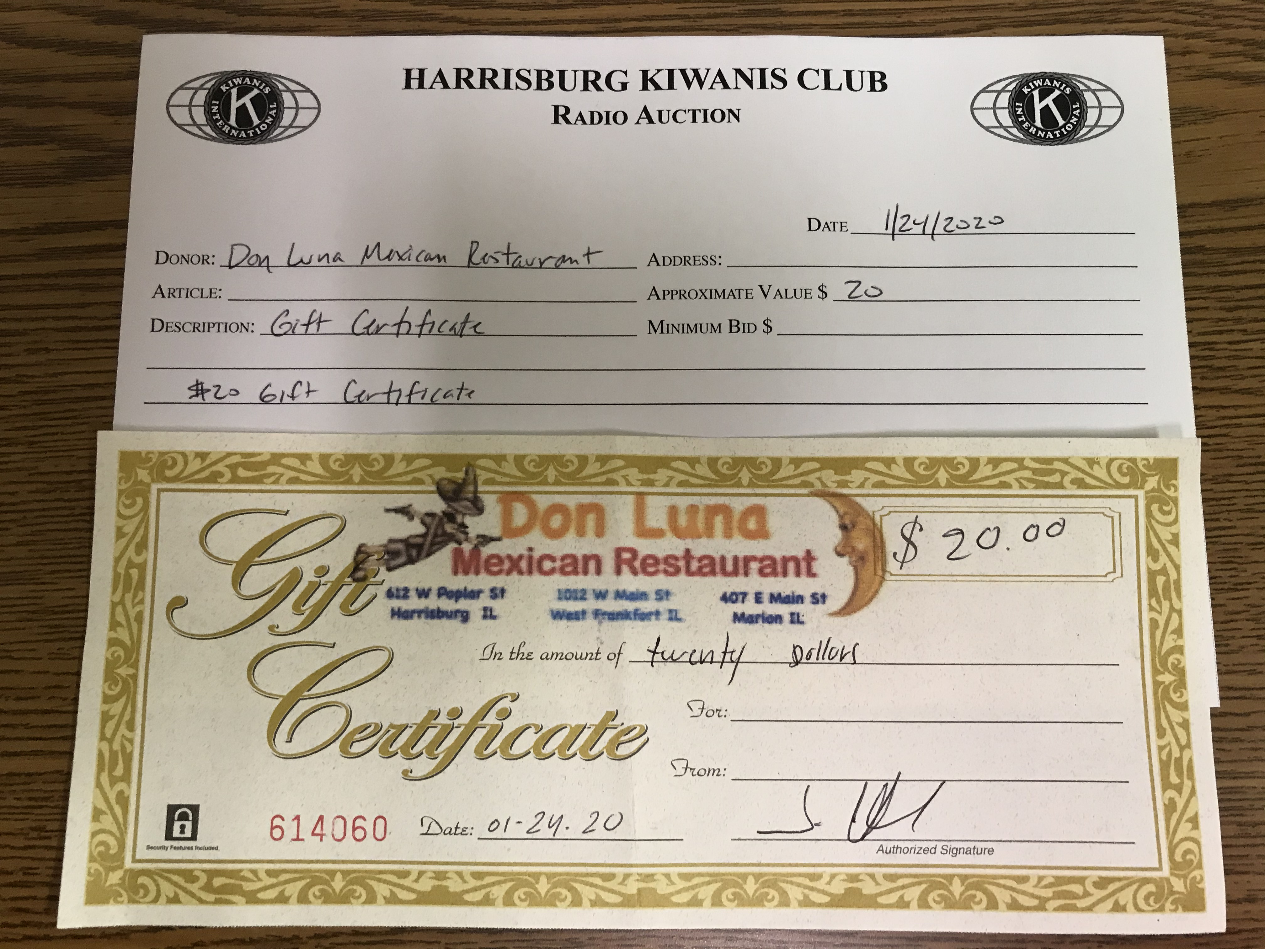 Item 402 - Don Luna Mexican Restaurant $20 Gift Certificate
