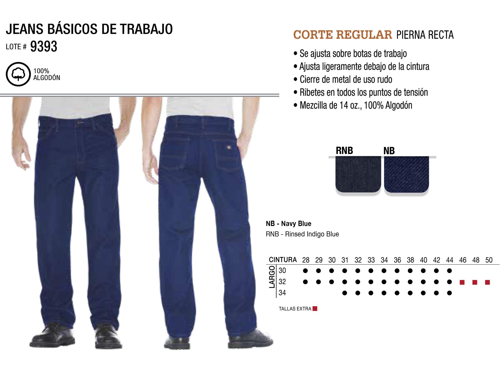 Jeans Básicos de Trabajo. Corte Regular. 9393.