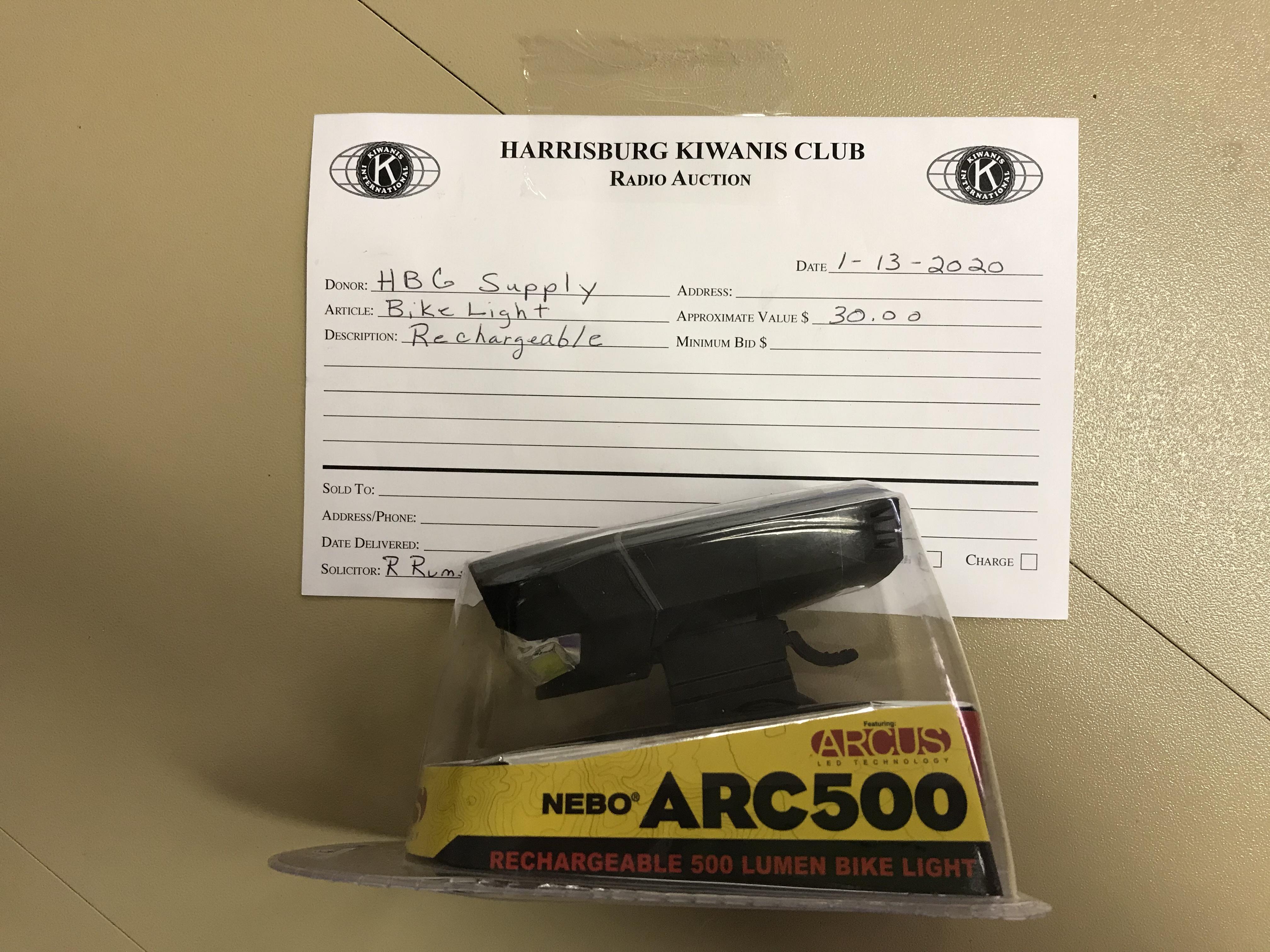 Item 229 - Harrisburg Supply Rechargeable Bike Light