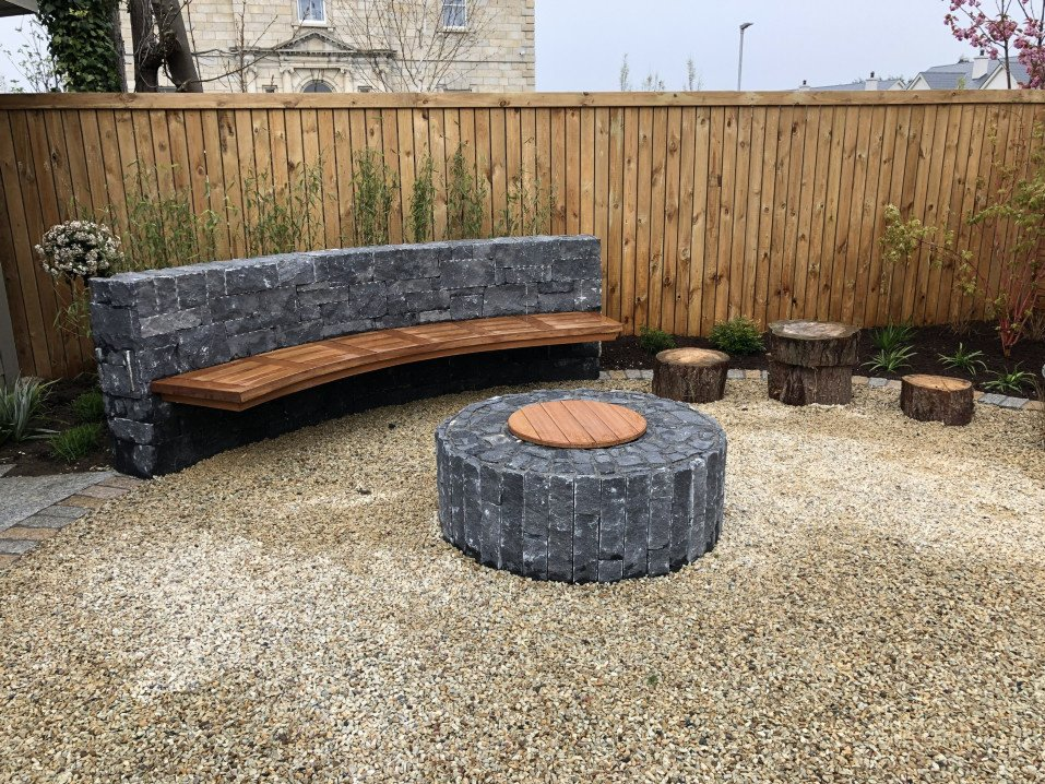 Fire Pit with Built in Seat