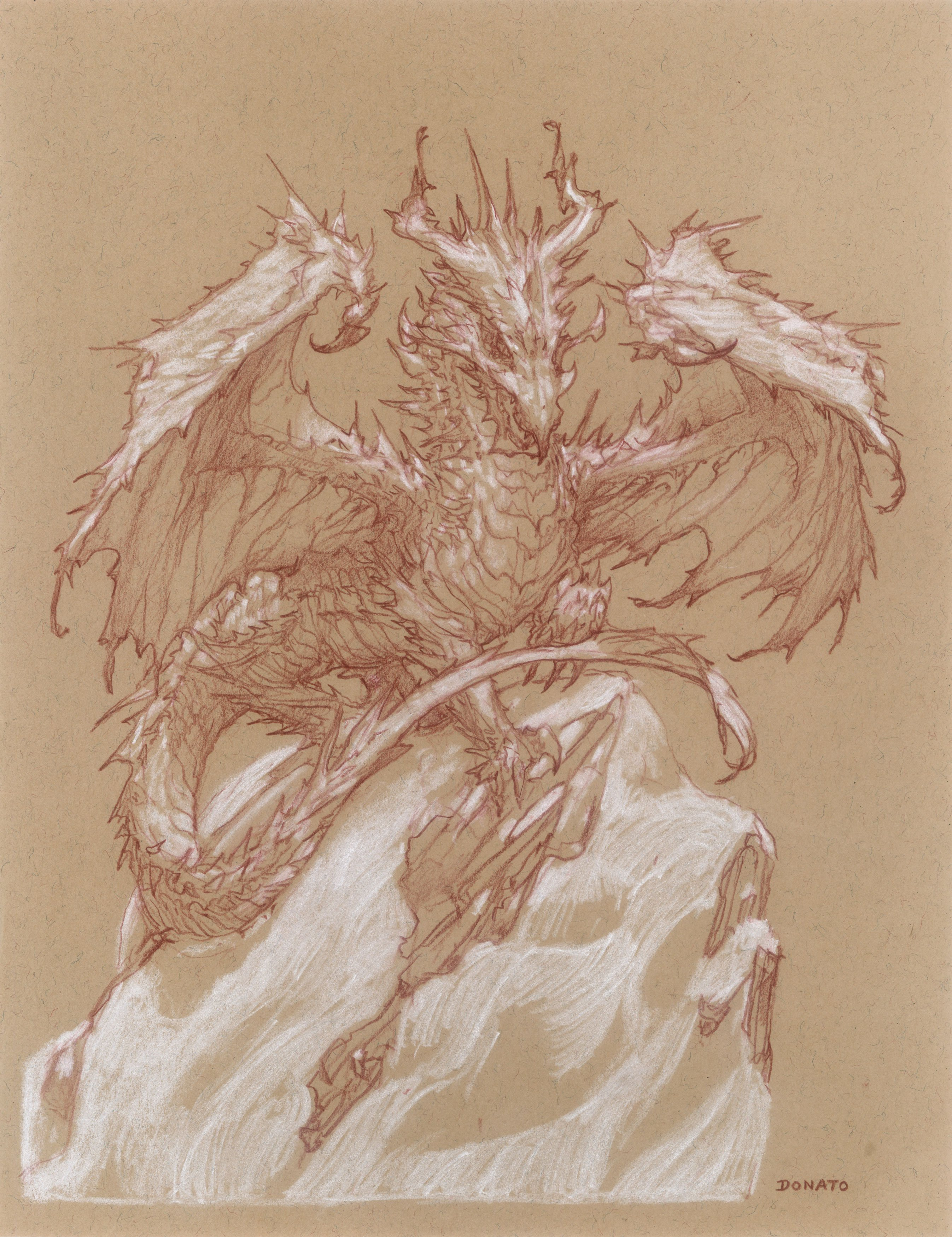 """White Dragon 11"""" x 8.5""""  watercolor pencil and chalk  2021 available for purchase"""
