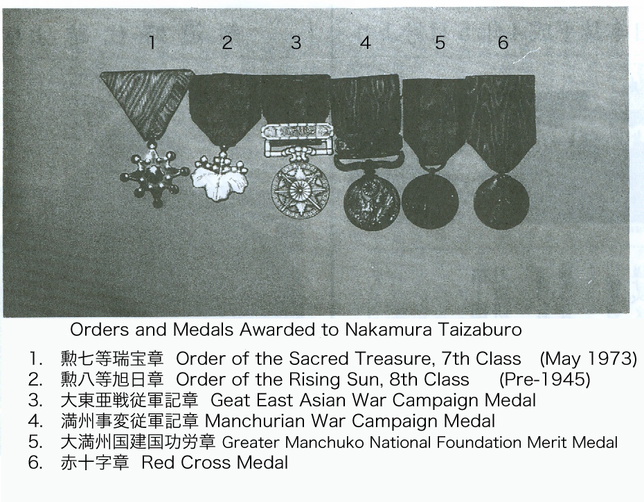 "Nakamura Taizaburo Sensei Was NOT a ""Living National Treasure"" For years there has been a myth that Nakamura sensei received the designation of ""Living National Treasure"" from the Japanese Government.  You'll find this misinformation on Wikipedia and martial arts sites that are well-meaning, but inaccurate.  I have confirmation from Tomoko Nakamura (2nd soke) that her father, Nakamura Taizaburo sensei, never received this prestigious designation.  The photograph above from Nakamura sensei's 80th Birthday Celebration pamphlet [15 November 1992] and the end notes in his books, shows and describes the orders and medals Nakamura sensei has received."