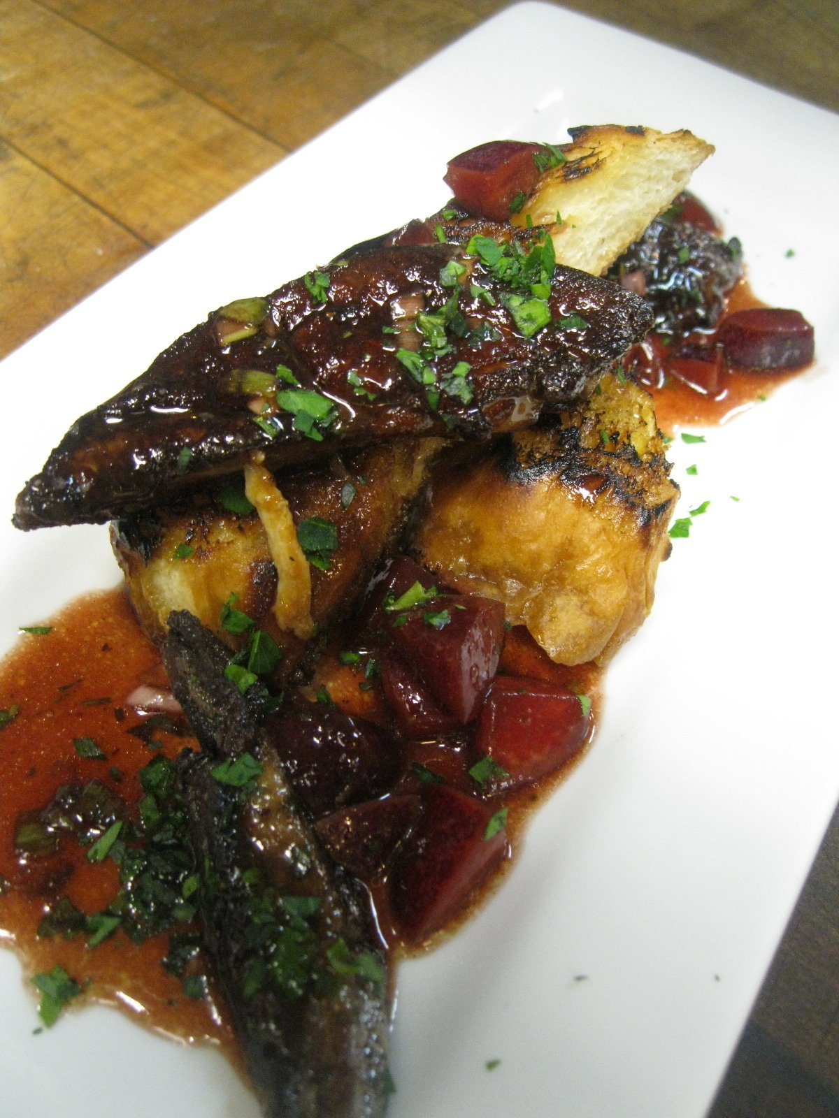 Pan seared Foie Gras with caramelized pears and a balsamic zinfandel reduction