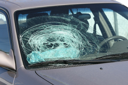 Broken windshield glass