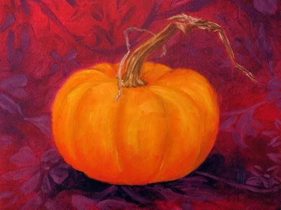 """Pumpkin - 6""""x8"""" Oil on Stretched Canvas SOLD"""