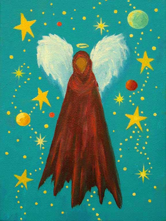 """Xmas Angel  5""""x7""""   Acrylic on gallery wrapped stretched canvas"""
