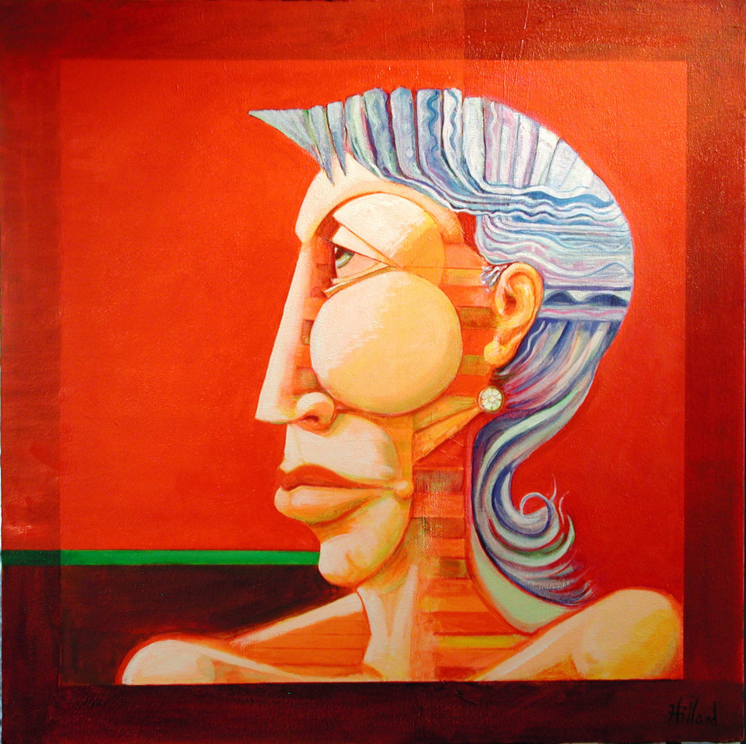 "Profile of Mature Woman Oil on Stretched Canvas 36"" X 36"""
