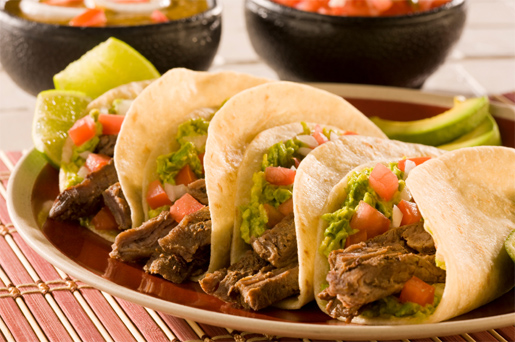 Beef tacos and plate