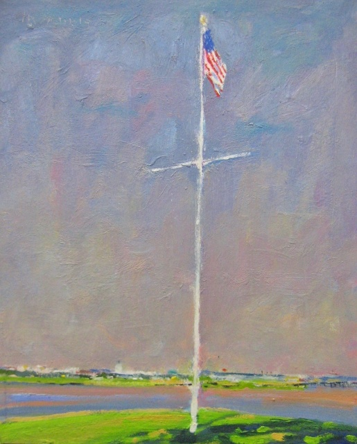 "Michael Francis, Flag, 12"" x 9"" Oil"