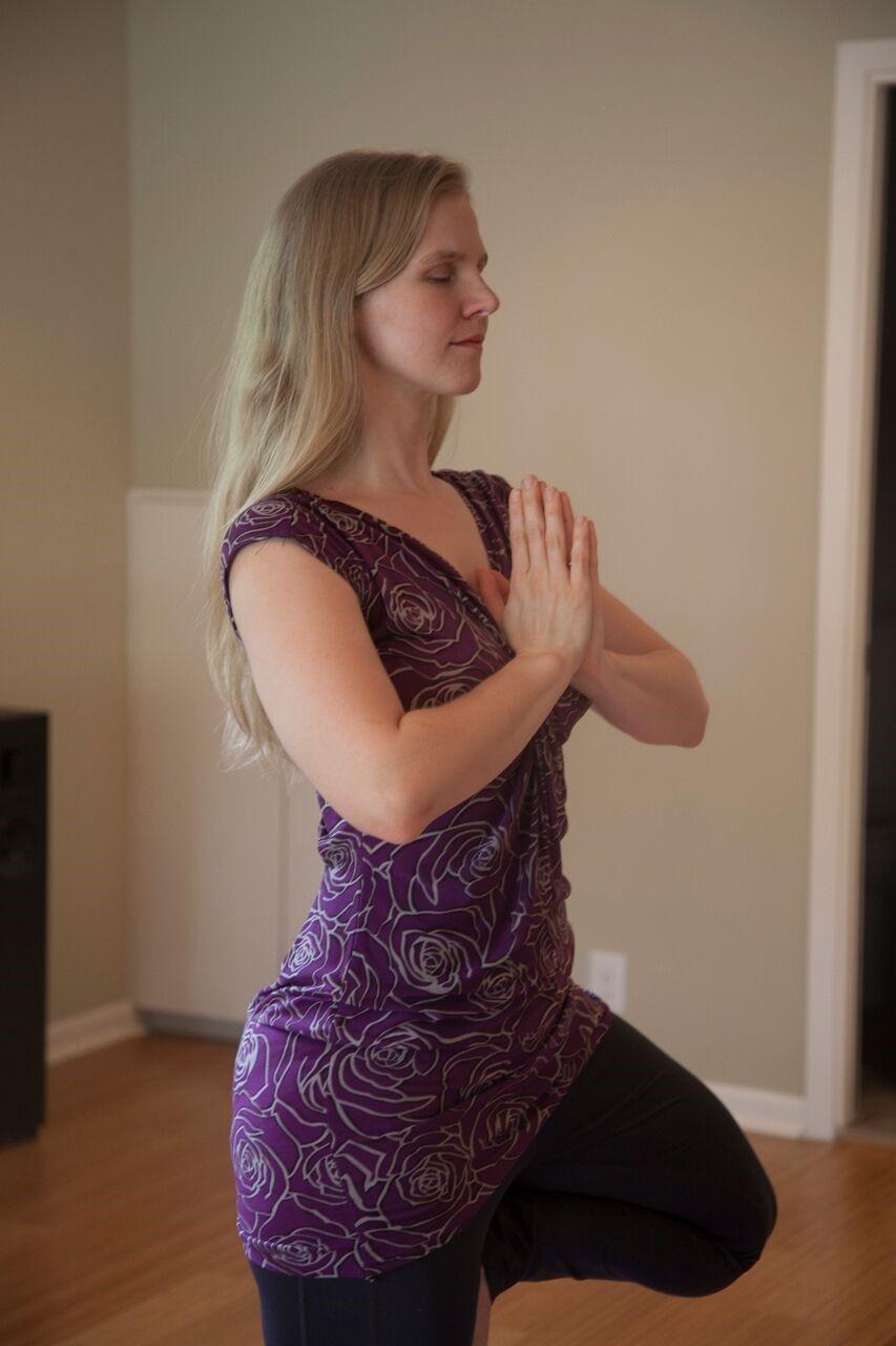 April Doing Yoga