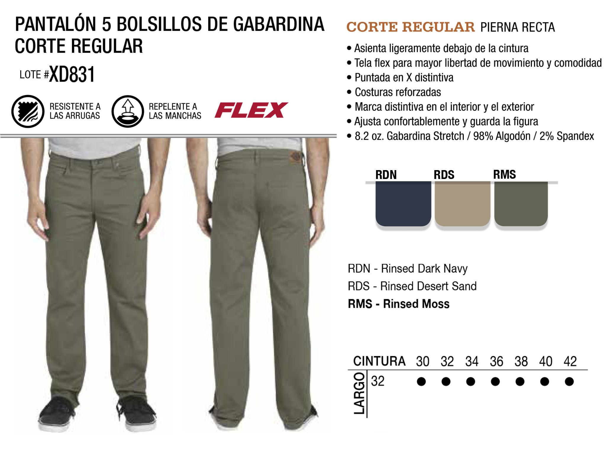 Pantalón de 5 Bolsillos de Gabardina. Corte Regular. XD831.