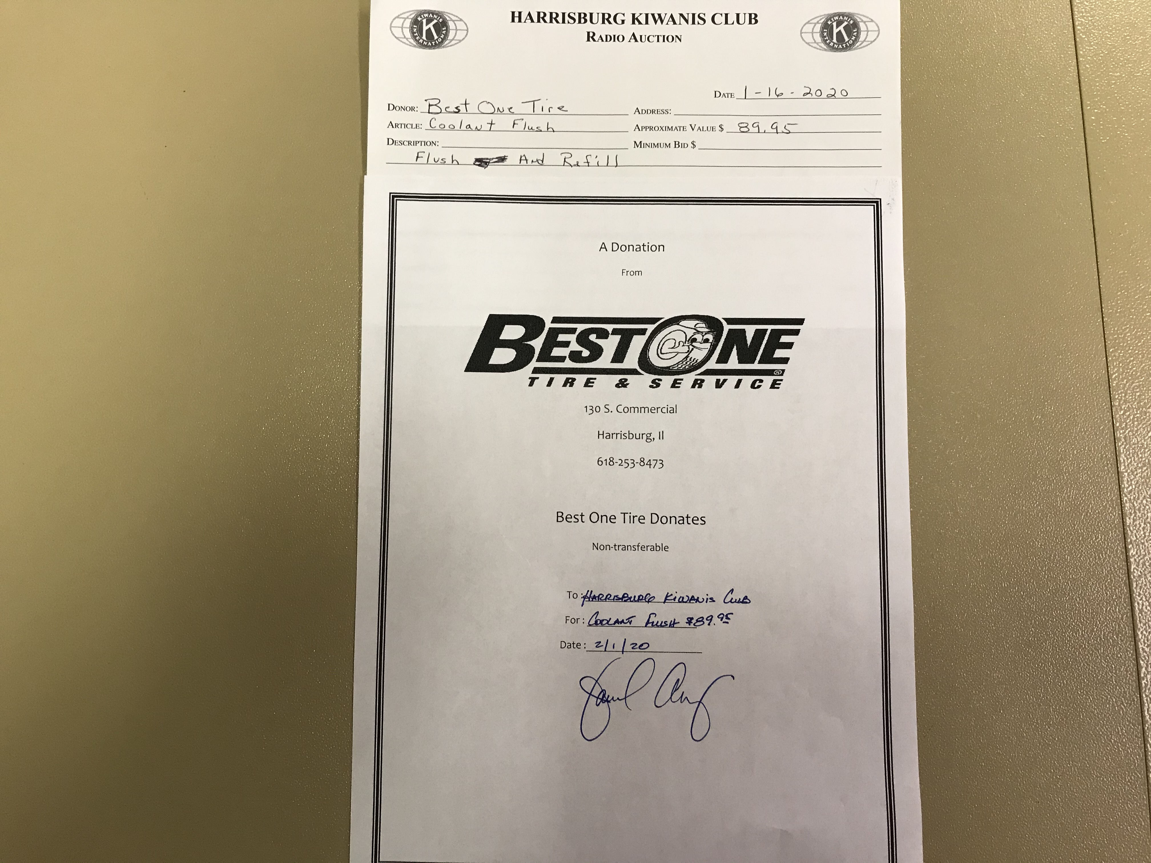 Item 313 - Best One Tire Coolant Flush and Refill