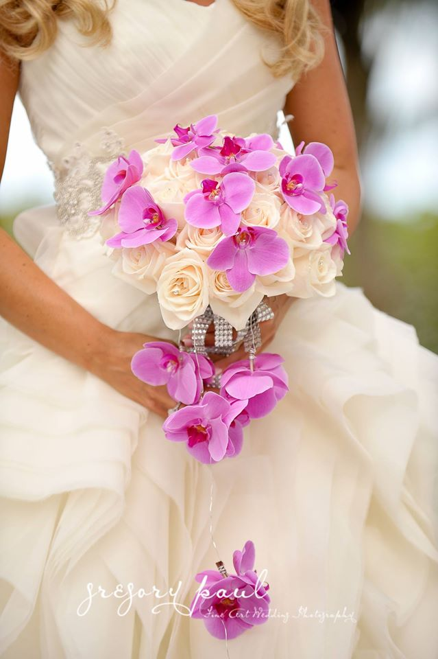 White Roses and Purple Orchids bouquet