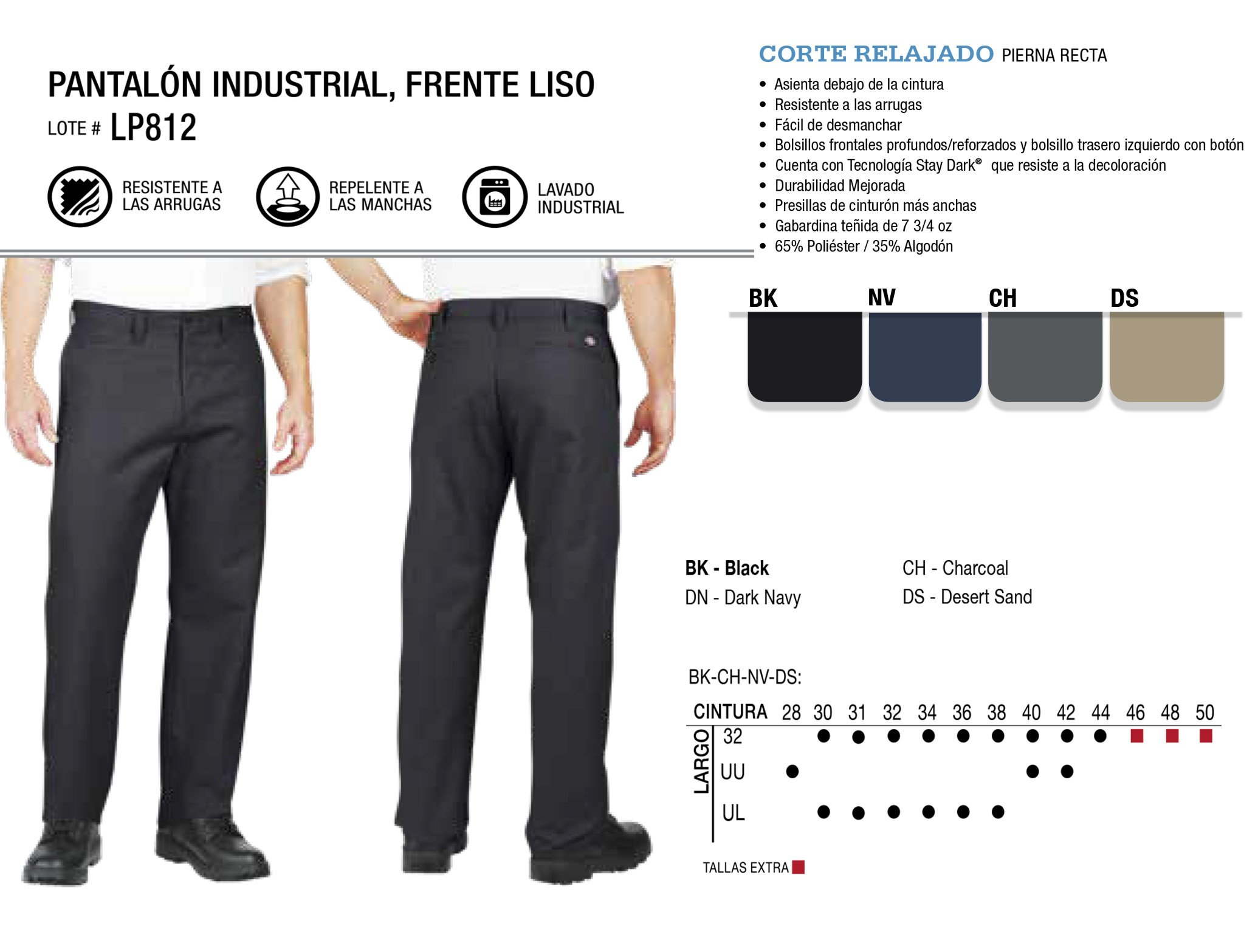Pantalón Industrial Frente Liso. Corte Relajado. LP812