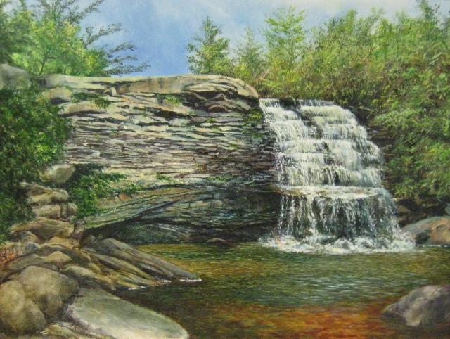 82. Muddy Creek Falls, 12 x 16 oil on panel