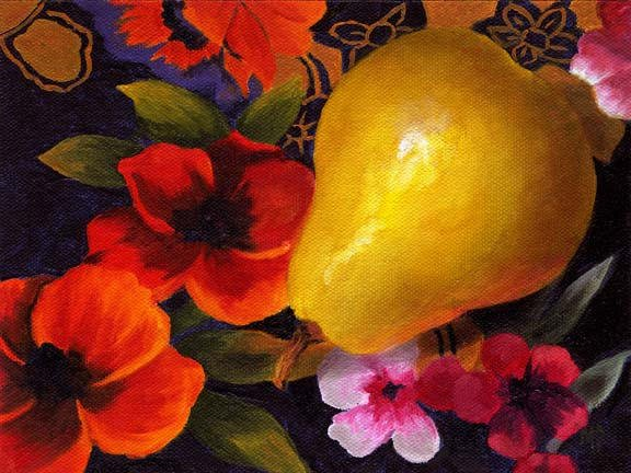 """Golden Pear - 6"""" x 8"""" Oil on panel SOLD"""