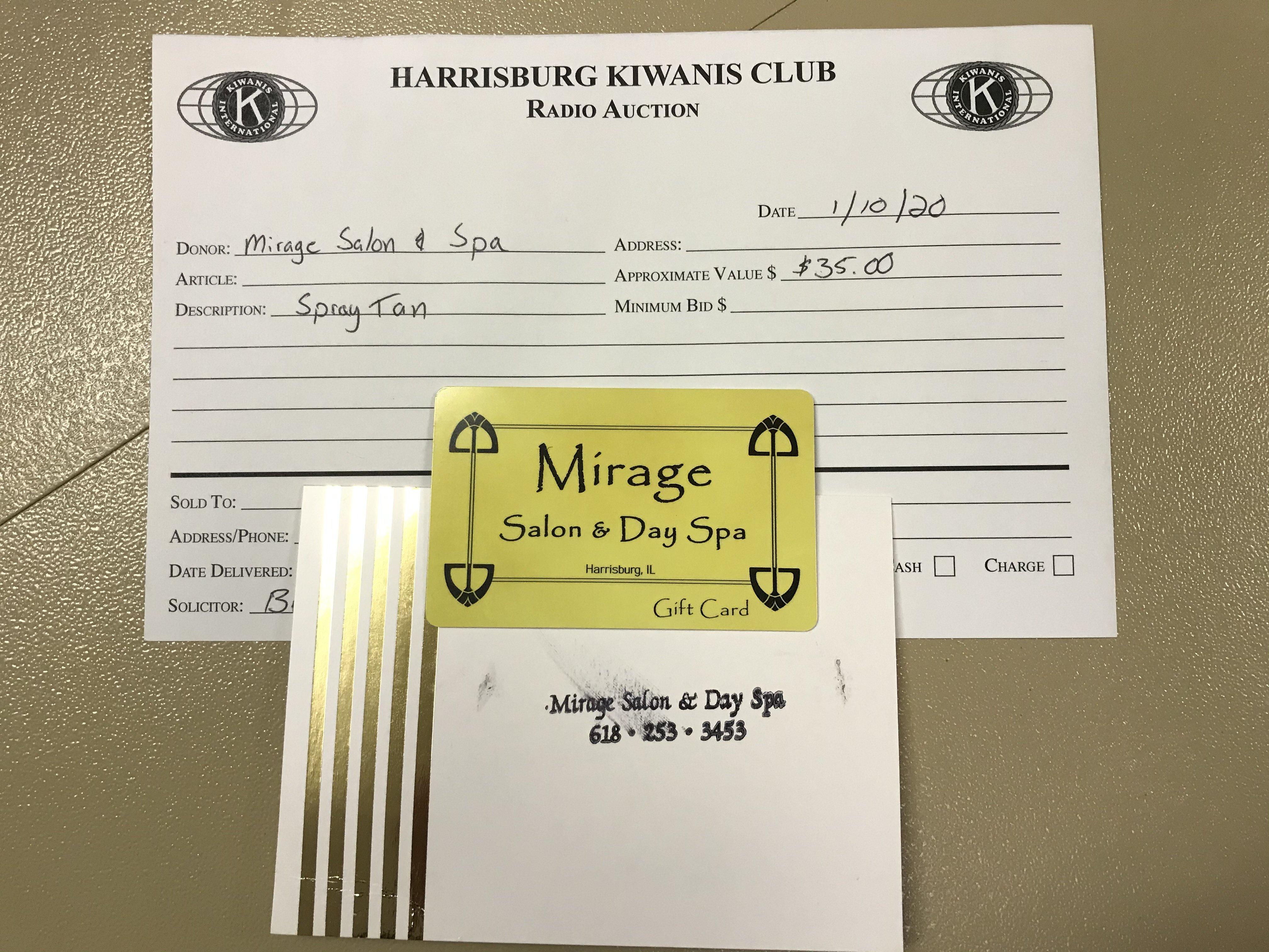 Item 222 - Mirage Salon & Day Spa 1 Free Spray Tan