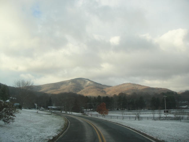 A view of the mountains as traveling though the valley to the farm on Church Rd.