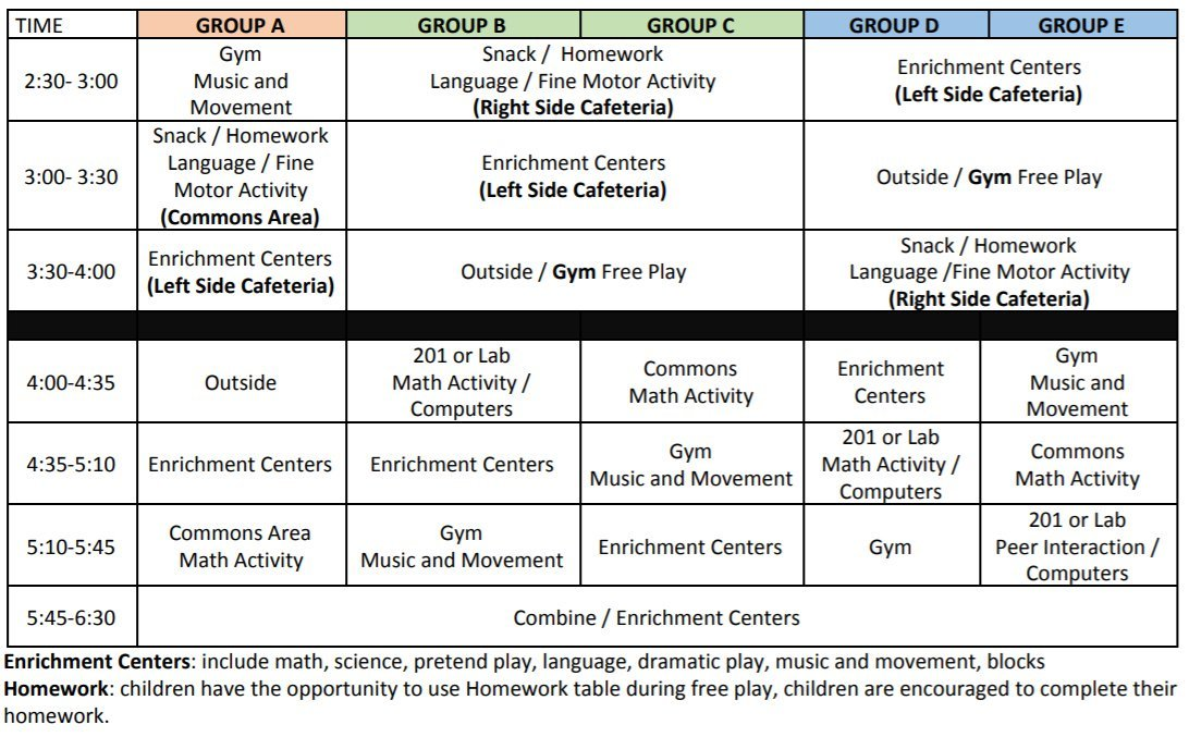afterschool program schedule